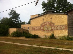 Princeton Tiger Brew is a historic building on the Fox River near the busy downtown.